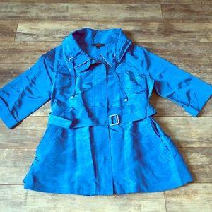 Lafeyette 148 Linen Blend Ocean Blue Trench Coat